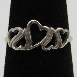 Size 5.75 Sterling Silver Rustic Hearts Band Ring